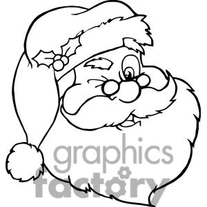 300x300 Clipart Of Santa Claus Winking Outline. 381417 Royalty Free