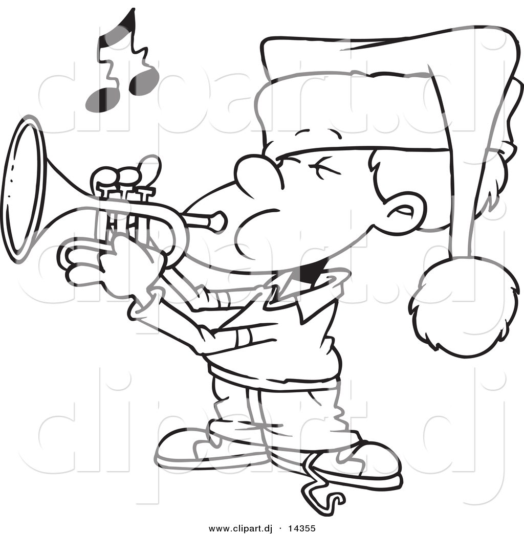 1024x1044 Vector Of Cartoon Boy Playing Christmas Music On A Trumpet
