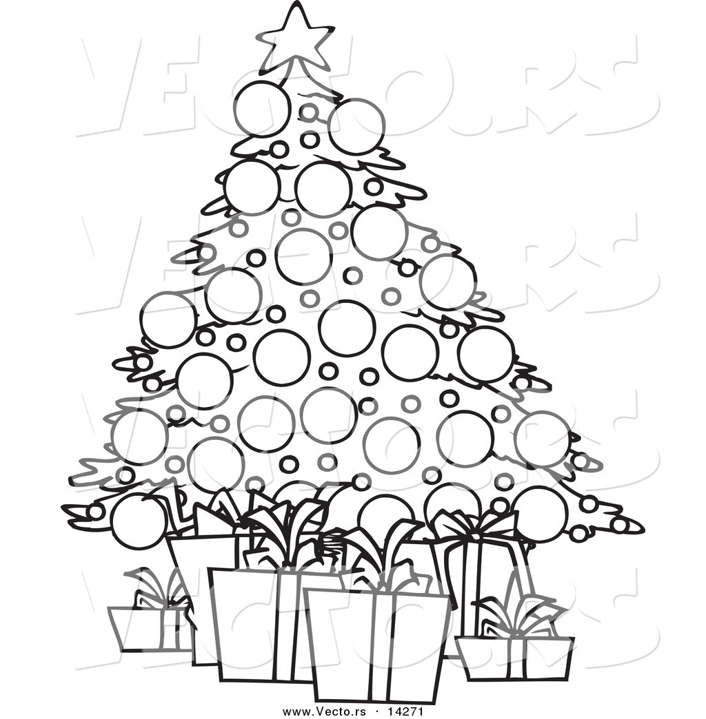 1024x1044 Vector Of A Cartoon Christmas Tree And Gifts