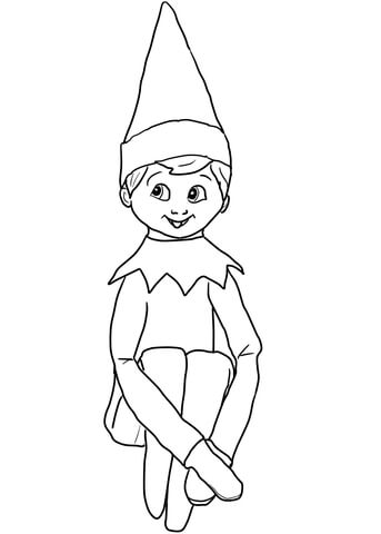 343x480 Christmas Elf On Shelf Coloring Page Free Printable Pages