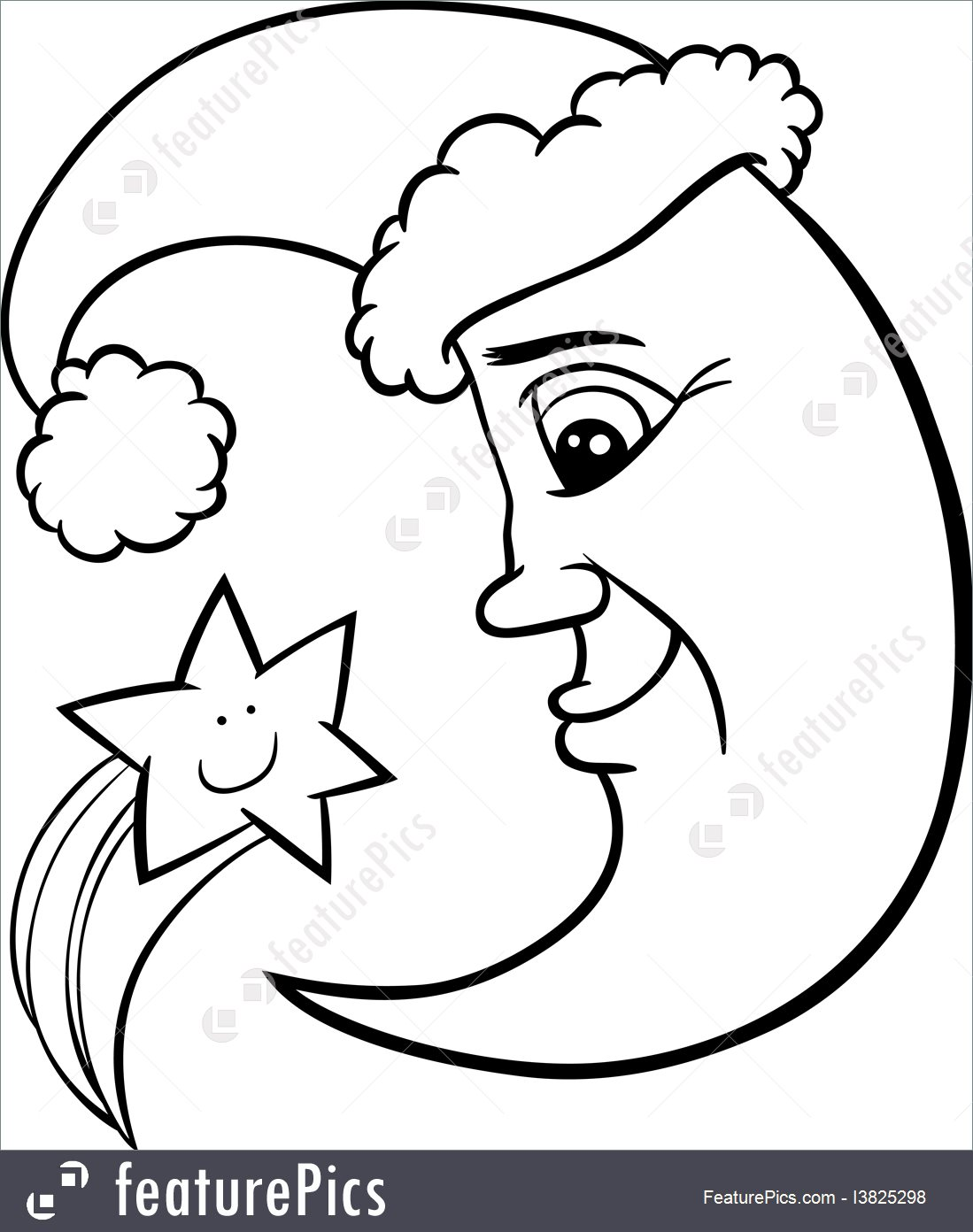 1099x1392 Moon And Star Christmas Coloring Page Illustration