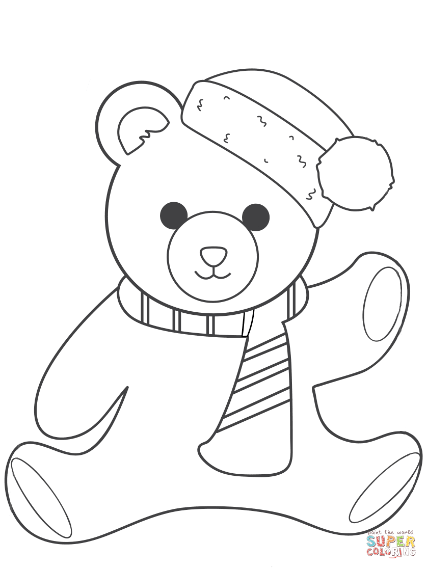 838x1117 Christmas Teddy Bear Coloring Page Free Printable Pages