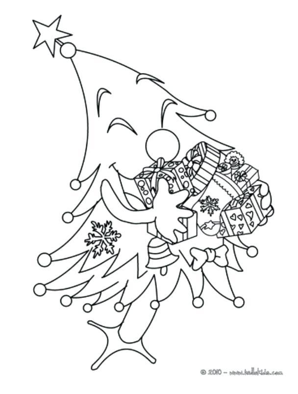 608x804 Christmas Tree Printable Coloring Page With