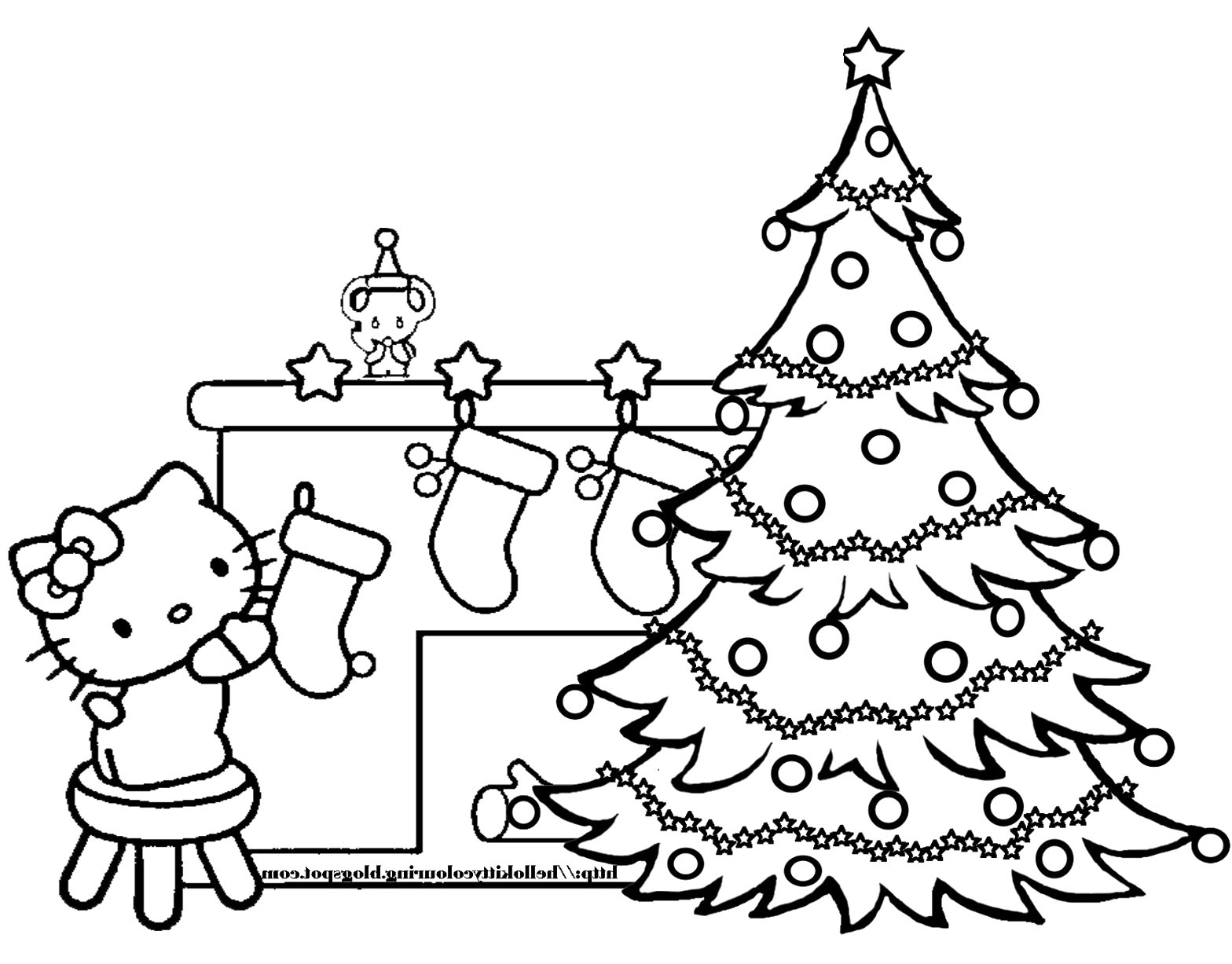 1568x1227 Christmas Tree With Presents Coloring Pages For Kids