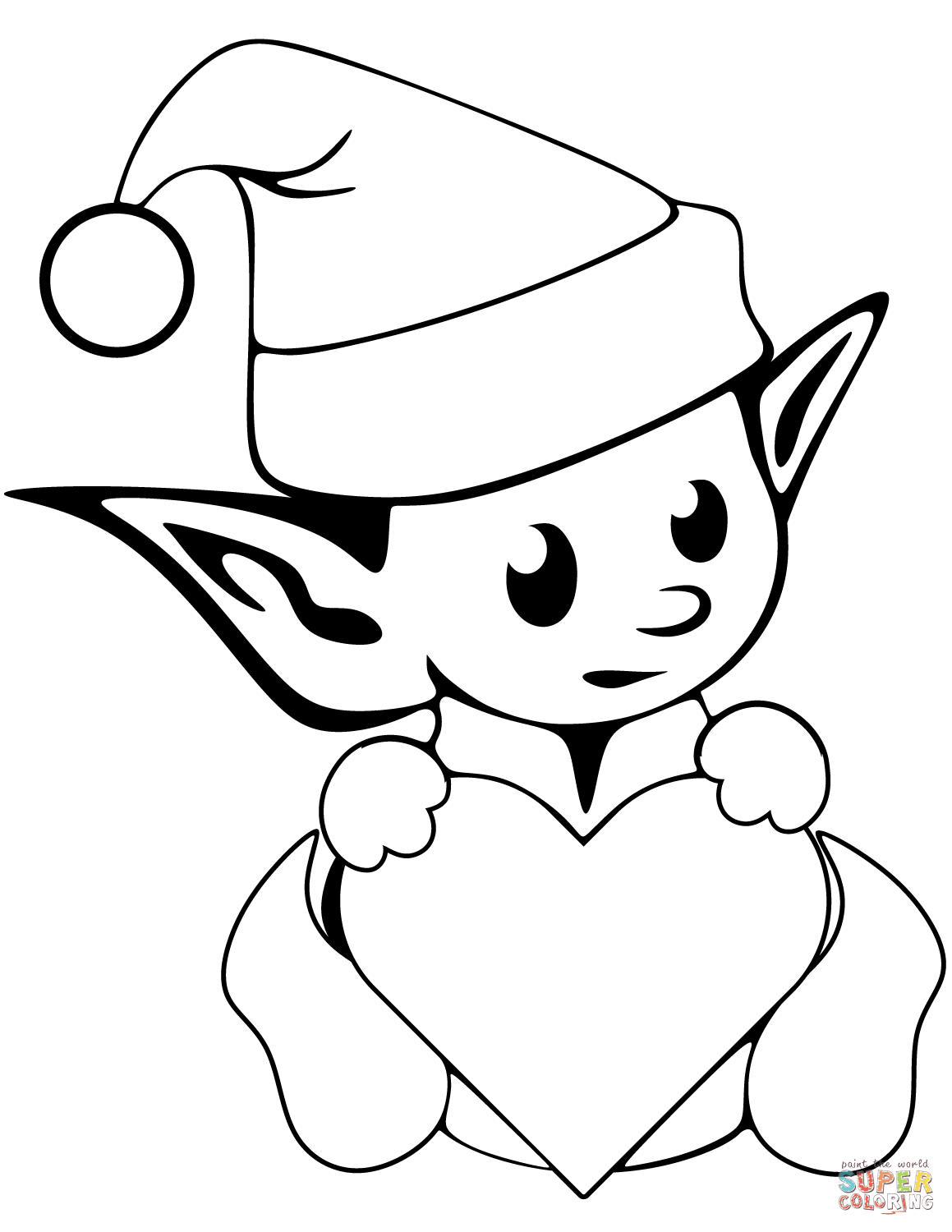 1159x1500 Cute Christmas Elf Coloring Page Free Printable Pages