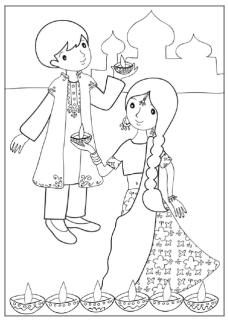 228x320 Diwali Coloring Page Indianollywood Party Theme