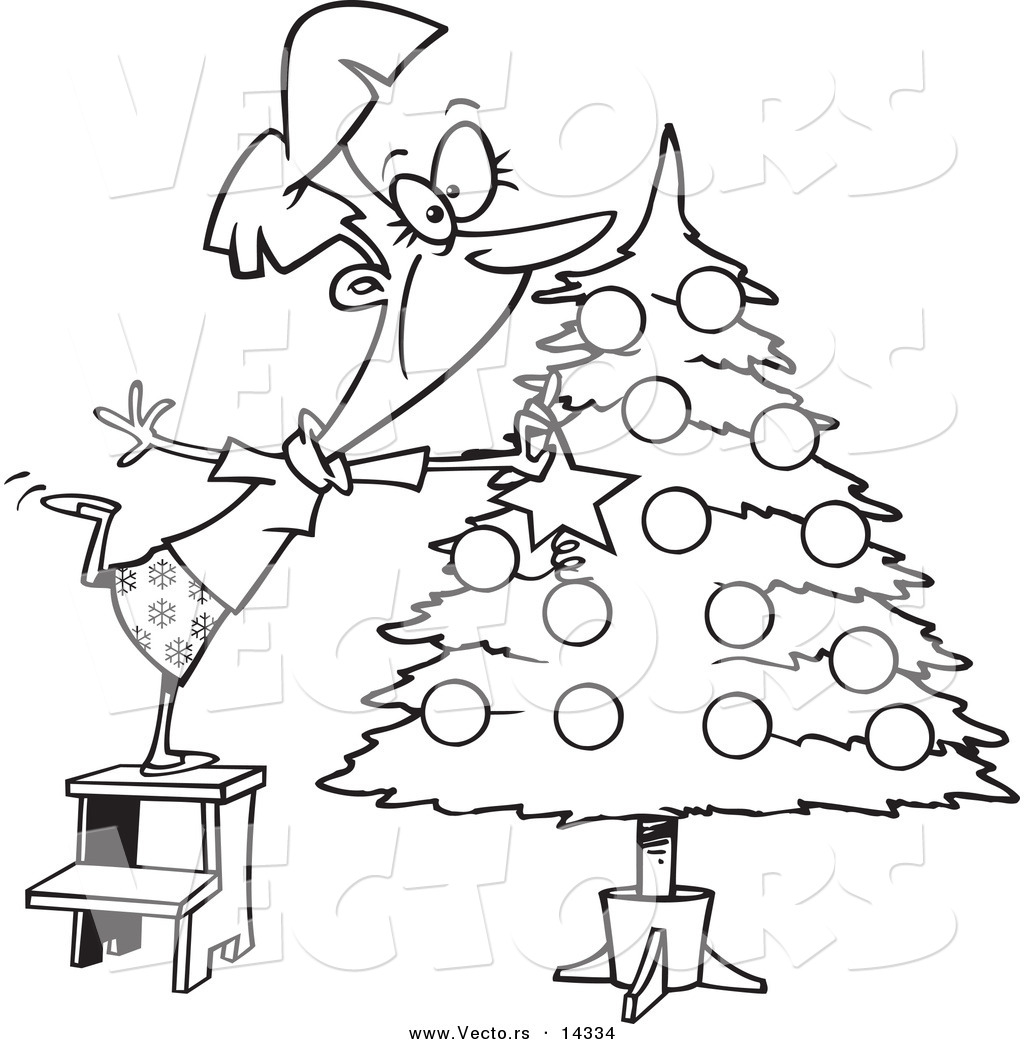 1024x1044 Vector Of A Cartoon Happy Lady Decorating A Christmas Tree