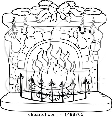 Christmas Fireplace Drawing at GetDrawings | Free download