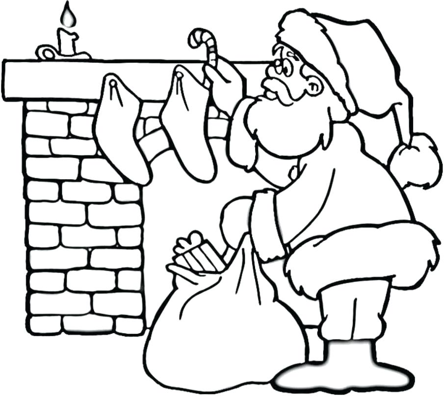 905x813 Santa Coloring Page Pages Of Near Fireplace Christmas