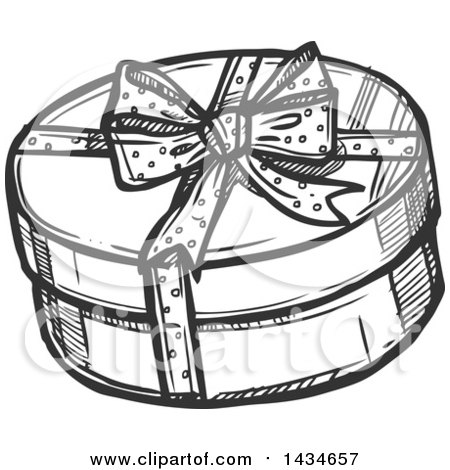 450x470 Clipart Of A Sketched Dark Gray Round Gift Box Drawing At Getdrawings Free For Personal Black And White