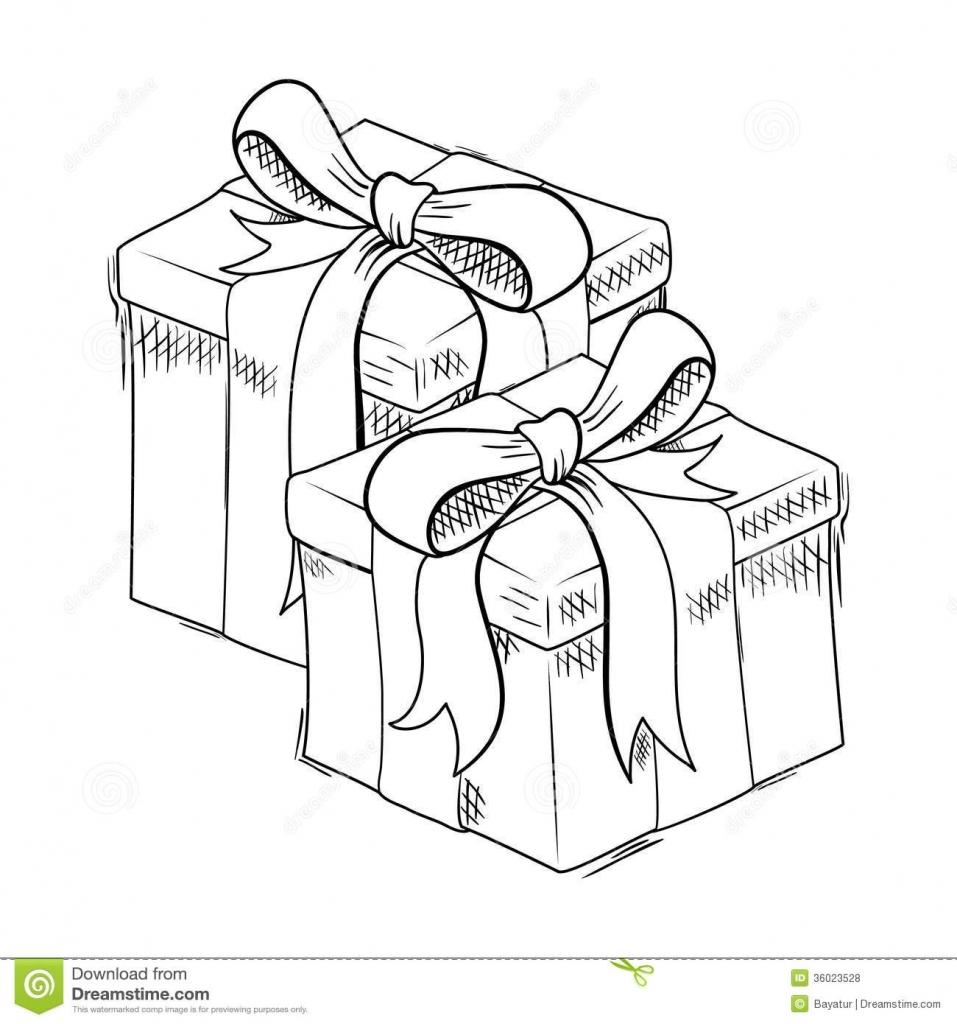 957x1024 Christmas Gift Drawings Christmas Gift Sketch Royalty Free Stock