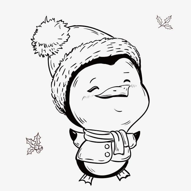 650x651 Hand Drawn Cute Penguin, Christmas Penguin, Smile, Hat Png