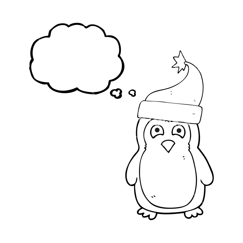 1000x1000 Freehand Drawn Thought Bubble Cartoon Christmas Robin Wearing