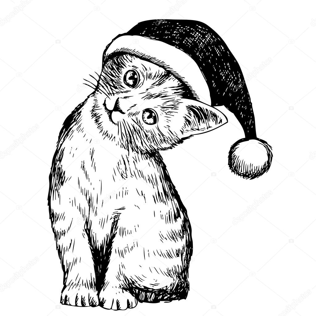 1024x1024 Kitten Cat With Christmas Hat Stock Vector Simplebe