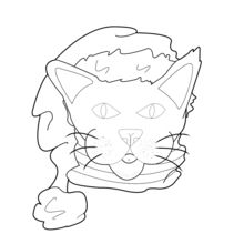 220x220 Cat With Santa Hat Coloring Pages