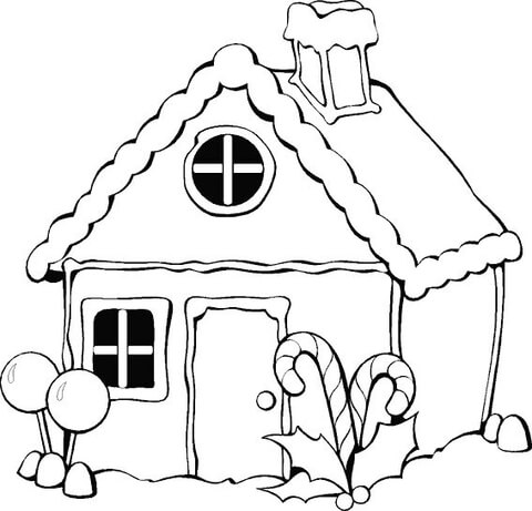 480x461 Christmas Gingerbread House Coloring Page Free Printable