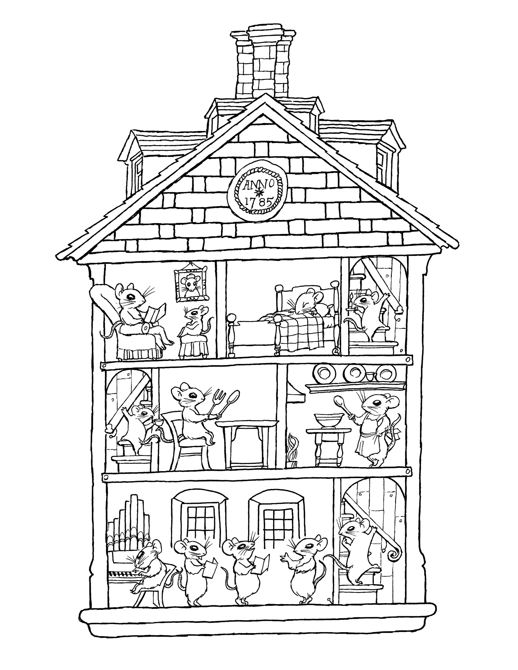 1700x2200 coloring book christmas house pages collection printable