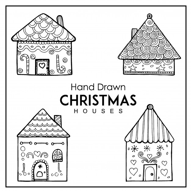 626x626 Hand Drawn Christmas House Collection Vector Free Download