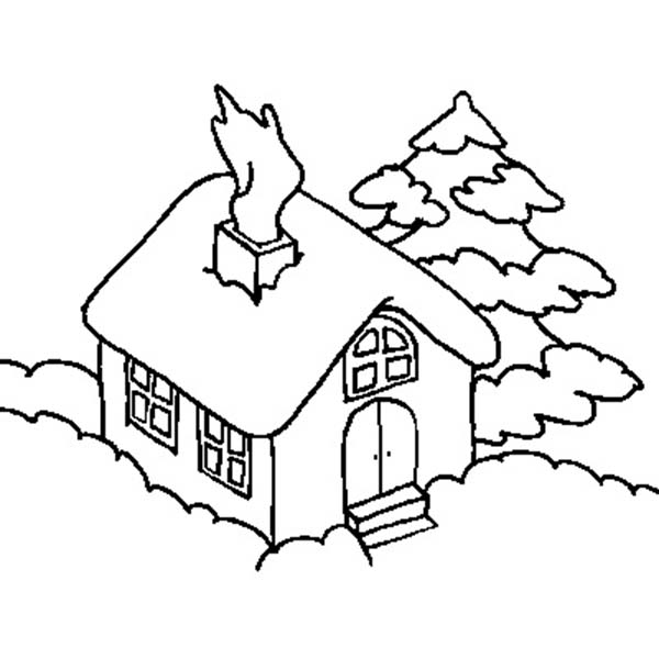 600x600 House Covered By Snow In Houses Coloring Page