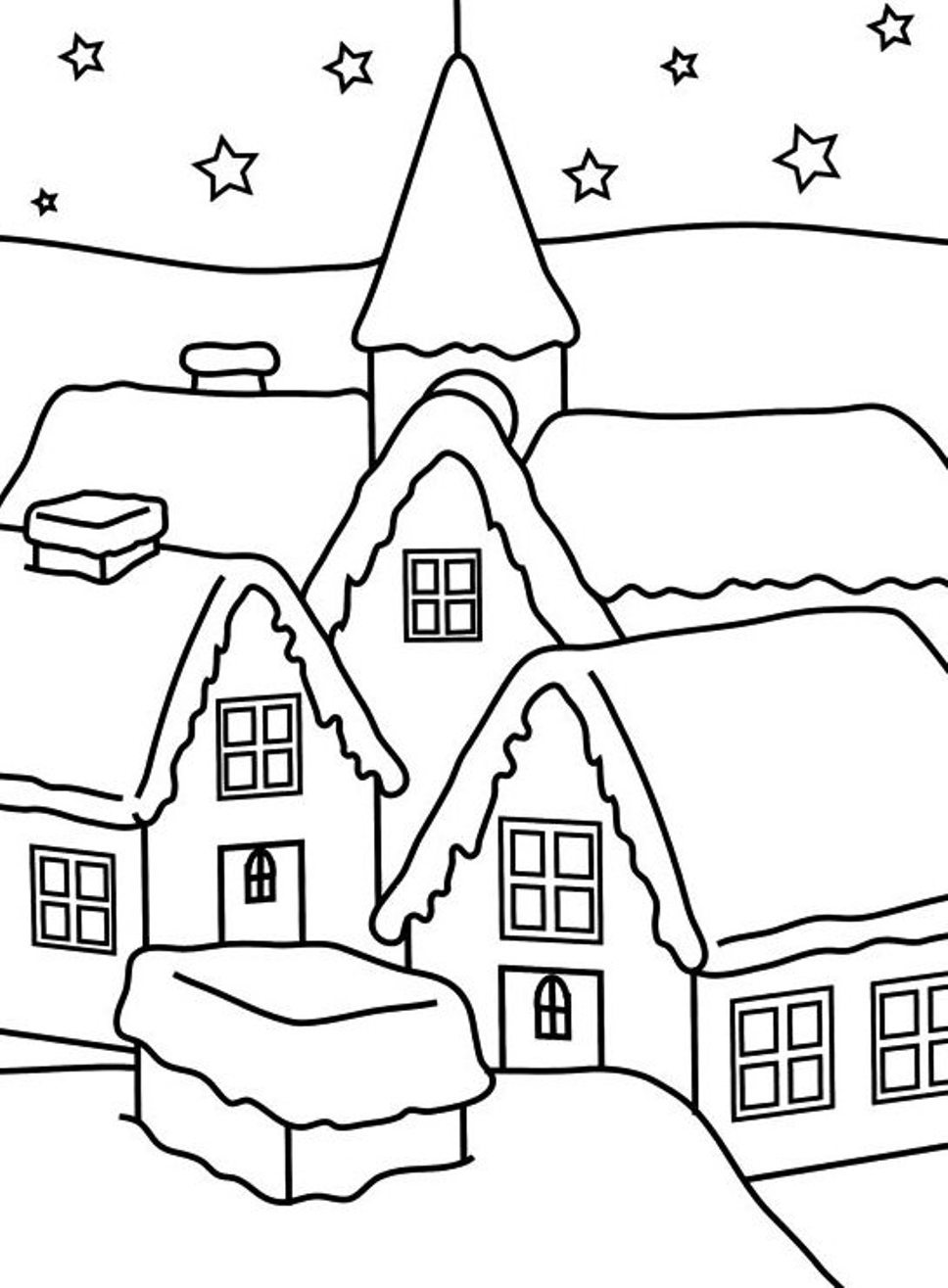 968x1315 House Of Winter Coloring Pages For Kids Christmas Coloring Pages