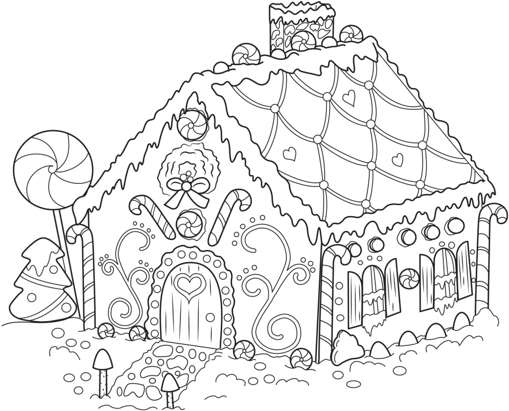 1024x827 Christmas House Coloring Pages Coloring Page For Kids