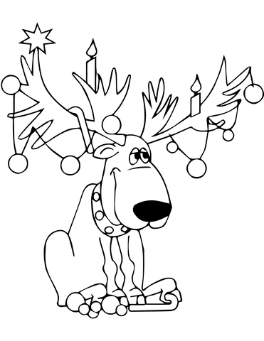 371x480 Christmas Lights On Reindeer Antlers Coloring Page Free