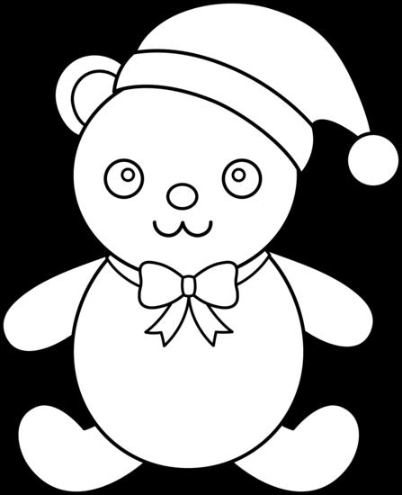 447x550 Christmas Teddy Bear Line Art