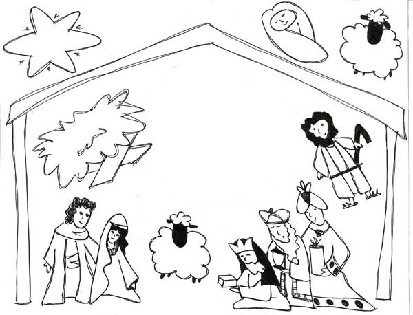 600x458 Kids Drawing Of Jesus In Nativity Coloring Page Color Luna
