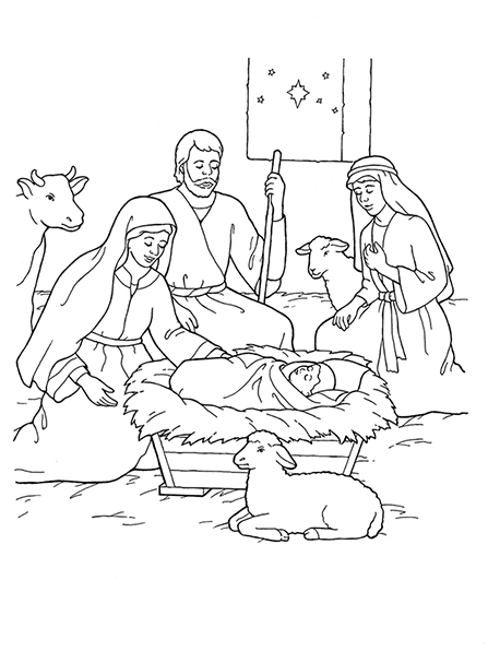 447x596 Nativity Mary, Joseph, Jesus, And The Shepherds