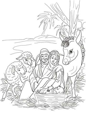 360x480 Nativity Scene With Holy Family And Animals Coloring Page Free