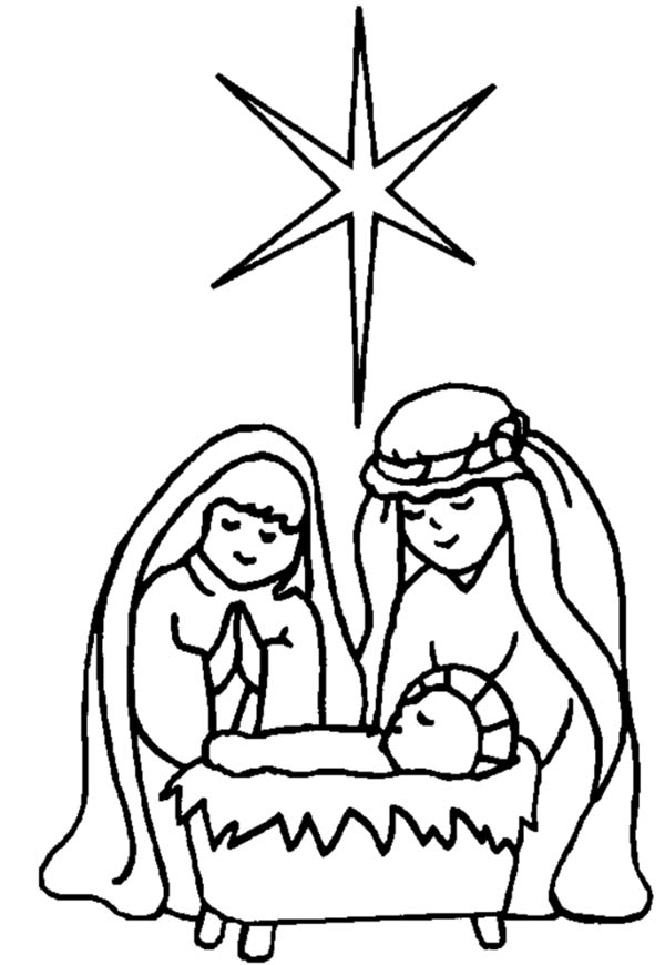 600x870 Star Upon Bethlehem Sky When Jesus Is Born In Nativity Coloring