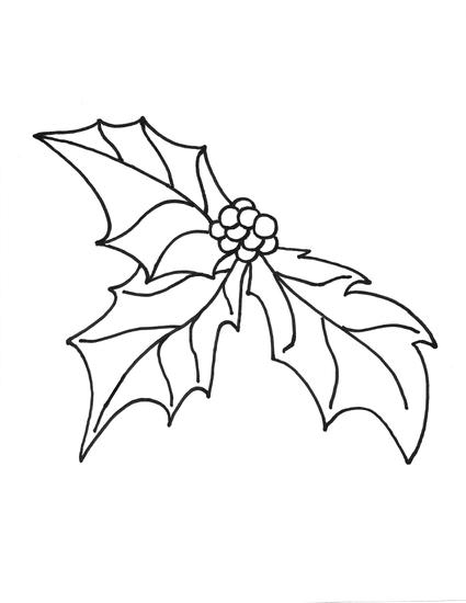 425x550 Christmas Holly Coloring Pages