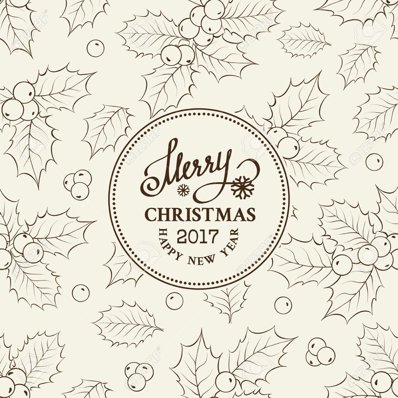 1300x1300 Christmas Mistletoe Line Drawing Over Circle Frame With Holiday