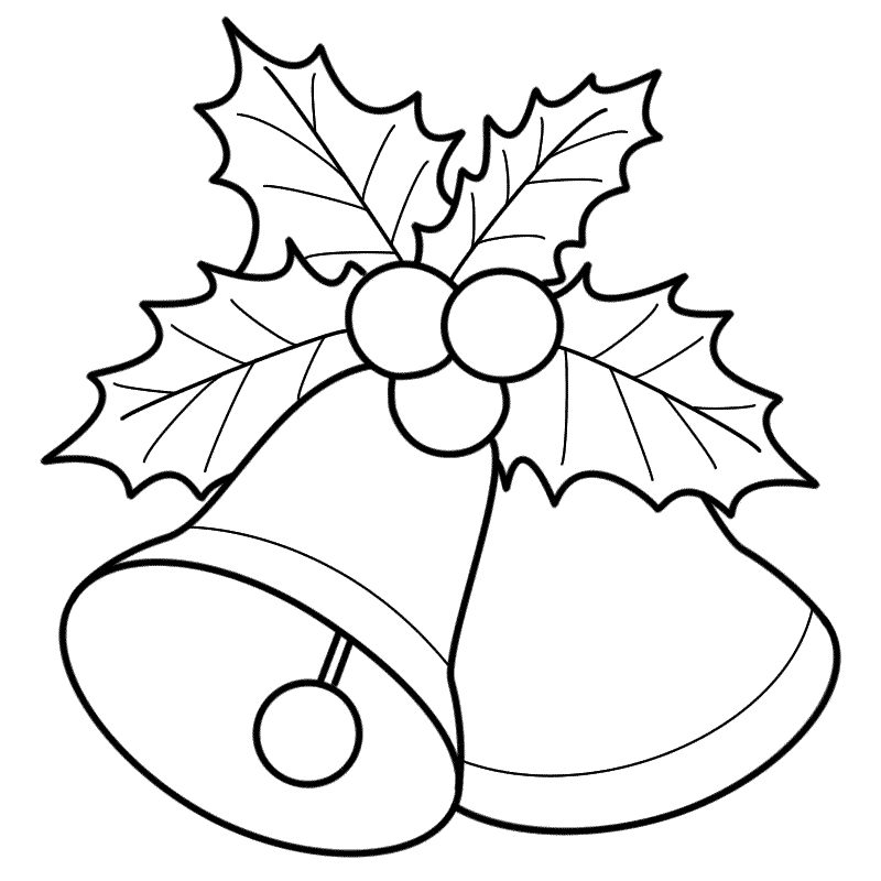 800x800 Bells With Mistletoe Coloring Page Christmas A R T Ideas