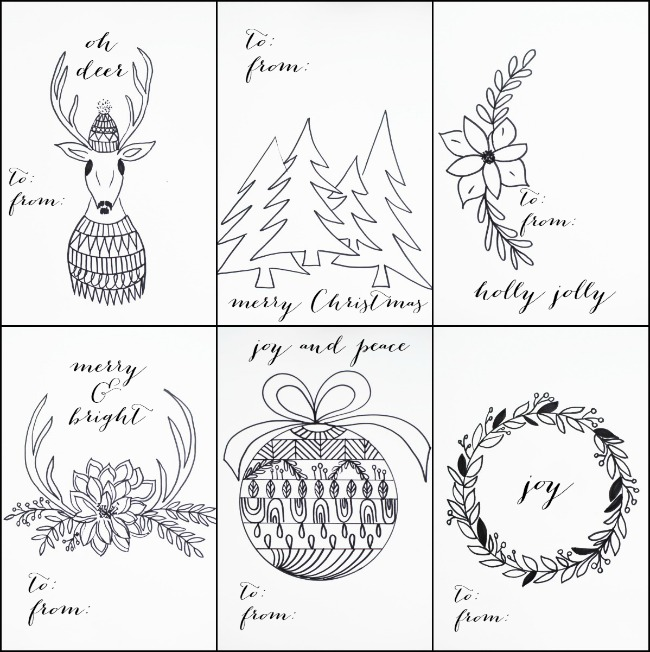 650x652 Free Printable Christmas Tags That You Can Color