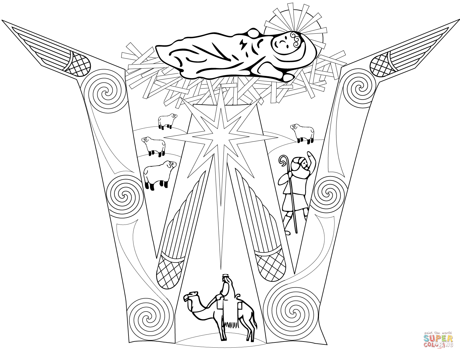 1500x1159 Letter W With Nativity Scene Coloring Page Free Printable