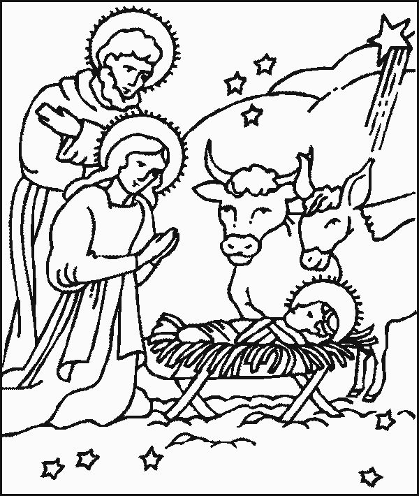 Christmas Nativity Scene Drawing
