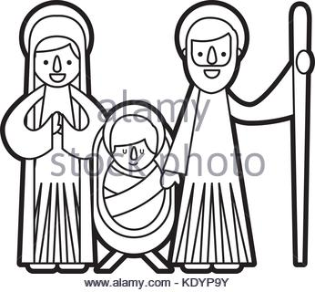 346x320 Illustration Of The Nativity Scene With Mary, The Child Jesus