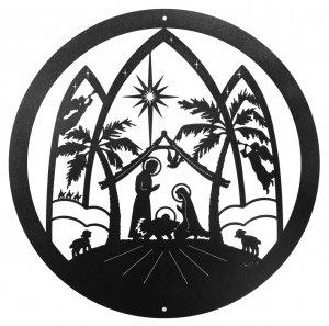300x297 Christmas Nativity Scene Scenic Art Wall Design [Metal Plaque 3029