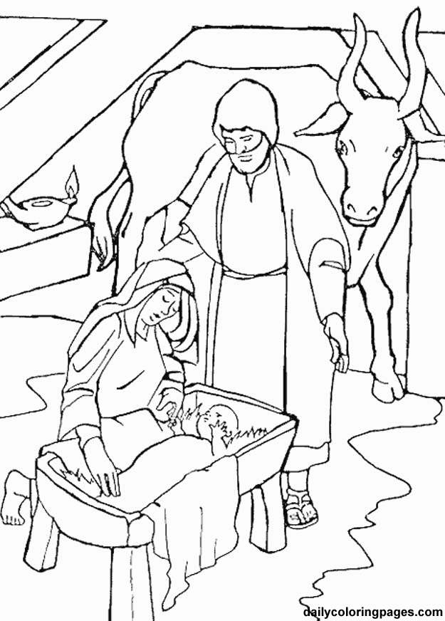 625x872 manger coloring santa kneeling at pages