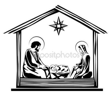 449x384 Christmas Christian Nativity Scene Baby Jesus Manger Silhouette