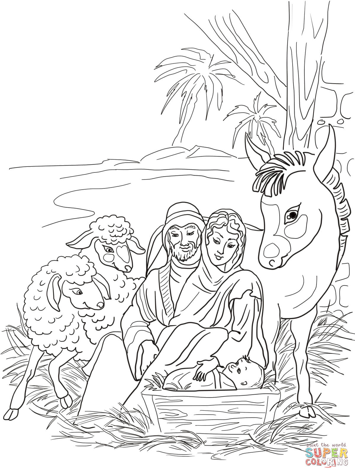 1200x1600 Nativity Scene With Holy Family And Animals Coloring Page Free