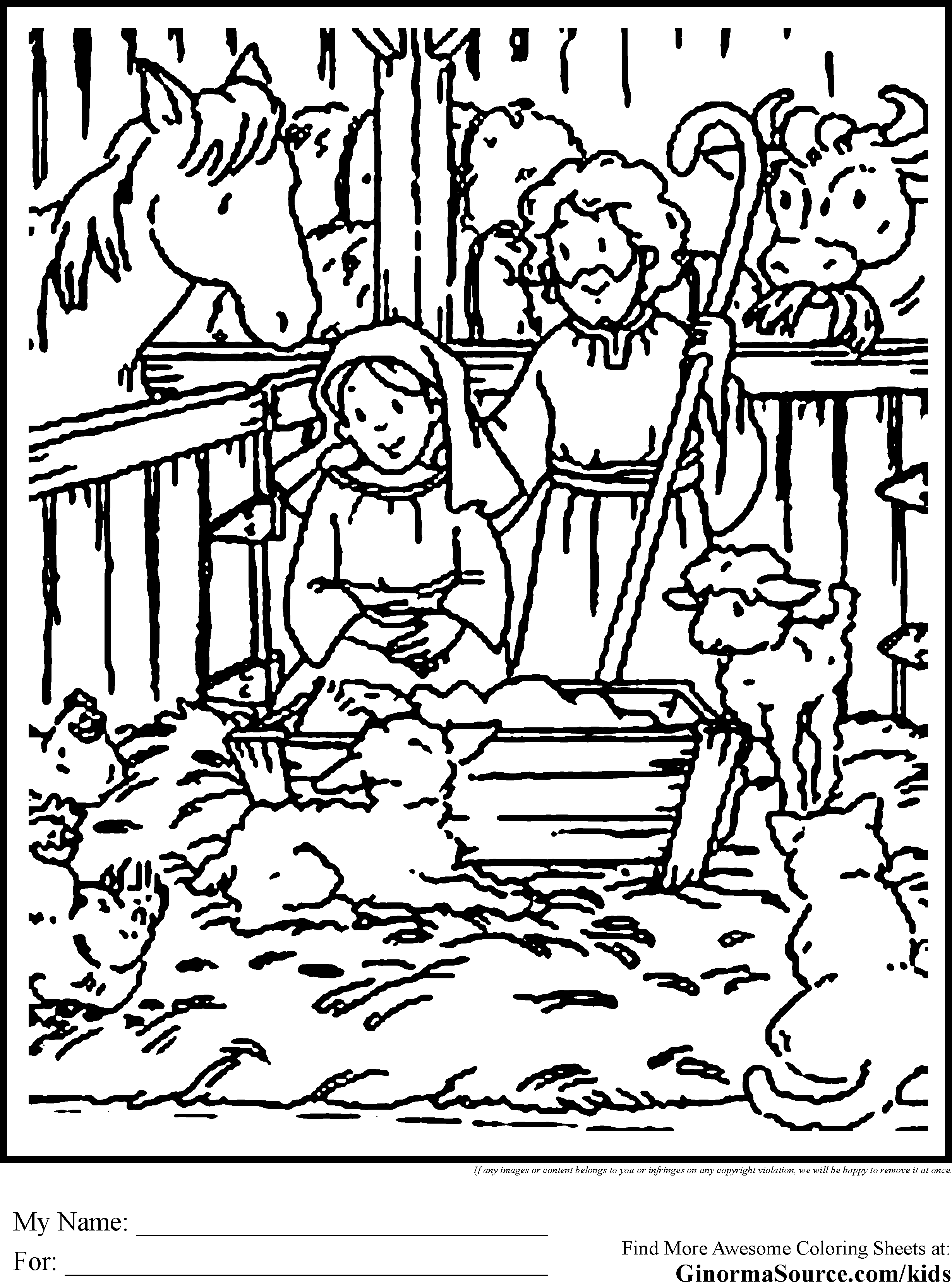 2459x3310 Adult Manger Scene Coloring Page Nativity Animals