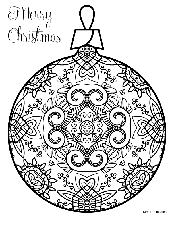 612x792 Coloring Page Christmas Ornament 2