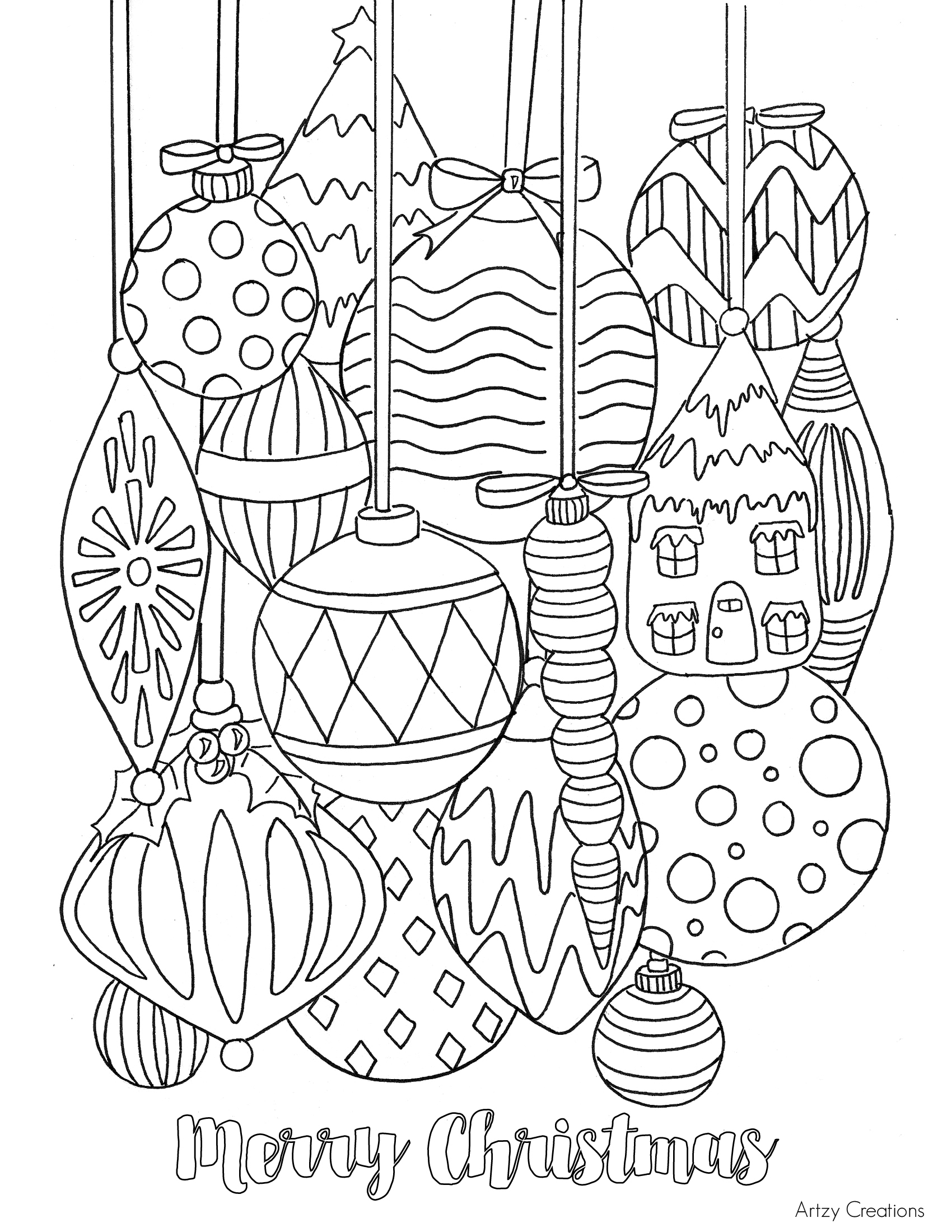 1700x2200 Free Christmas Ornament Coloring Page