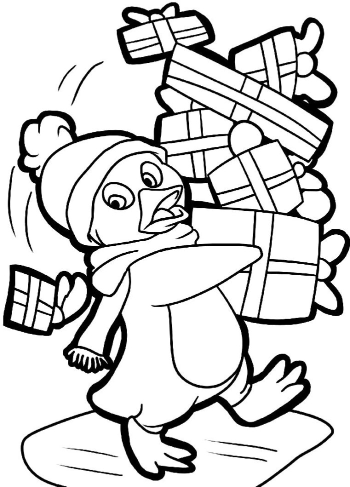 700x975 Baby Penguin Coloring Pages For Christmas