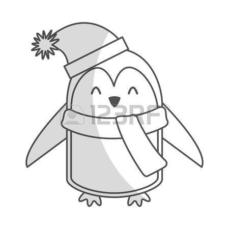 450x450 Cute Shadow Christmas Penguin Cartoon Vector Graphic Design