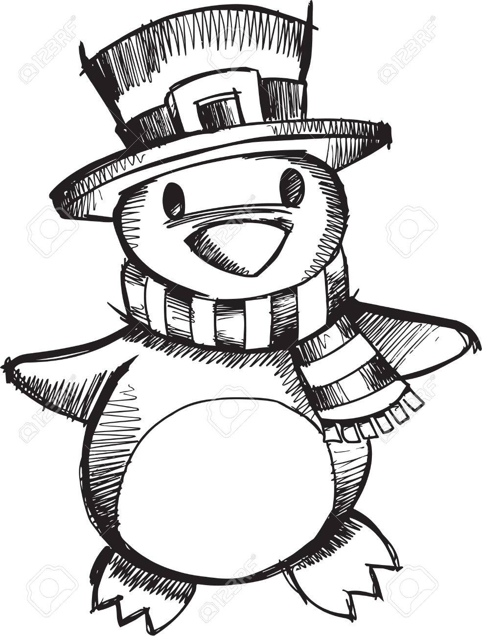 985x1300 Doodle Sketchy Christmas Penguin Royalty Free Cliparts, Vectors