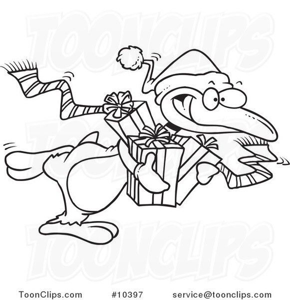 581x600 Cartoon Black And White Line Drawing Of A Giving Christmas Penguin