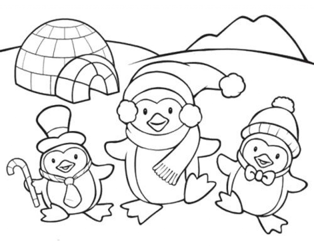 1024x817 Wonde Cool Christmas Penguin Coloring Pages